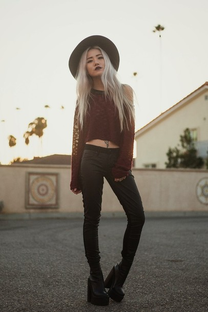 feral creature jeans sweater hat shoes