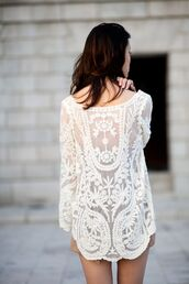 dress,white,dentelle,tunic,shirt,lace,dress shirt,amazing,blouse,lace tunic,lace dress,lace flowy top,lacework,transparent tunic top,top,cream,sheer