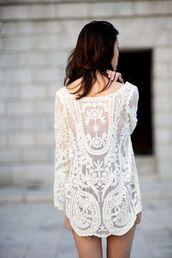 dress,white,dentelle,tunic,shirt,lace,dress shirt,amazing,blouse,lace tunic,lace dress,lace flowy top,lacework,transparent tunic top,top,cream,sheer