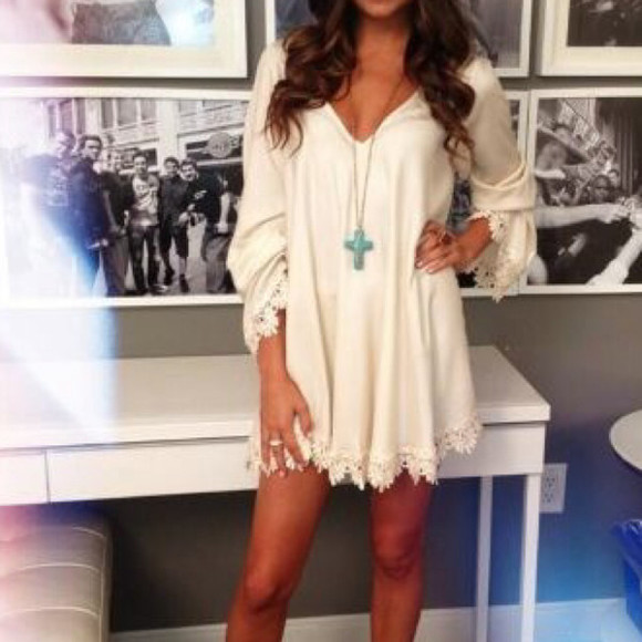 dress cream short dress long sleeve dress lace trim jewels