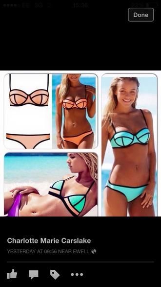 swimwear orange bikini blue bikini