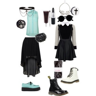 shoes pastel blue pastel goth creepers kawaii shoes dress sunglasses jewels emo american horror story dark skirt