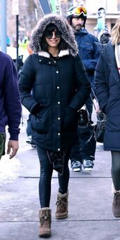 jacket,parka,nina dobrev,boots,streetstyle,winter outfits,leggings