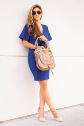 the darling detail - austin fashion blog,blogger,dress,shoes,jewels,sunglasses,bag,blue dress,royal blue,aviator sunglasses,nude bag,mini dress,nude heels,lace up,lace up heels