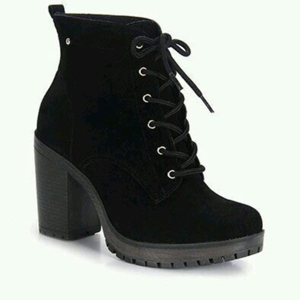 shoes black combat style heels
