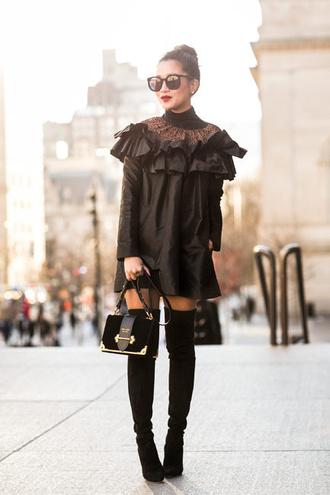 wendy's lookbook blogger top dress shoes bag sunglasses jewels black dress mini dress thigh high boots boots black bag