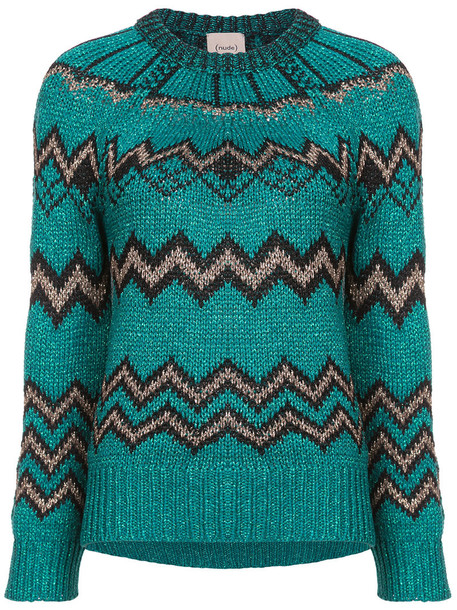 NUDE jumper metallic women green sweater