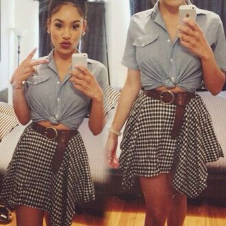 high waisted high waisted skirt button up plaid belt chunky belt knot denim denim shirt button down short sleeve youtuber itsmyrayeraye dope tumblr girl rayeraye tie-front top