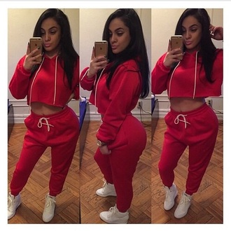jeans red red sweater joggers jogger pants