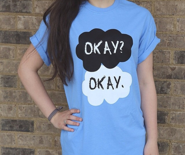 t-shirt the fault in our stars johngreen the fault in our stars t-shirt blue clouds hazelandaugustus