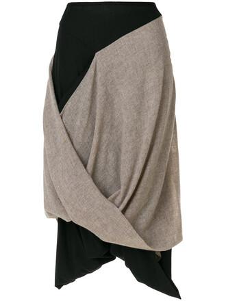 skirt midi skirt women midi draped nude cotton wool