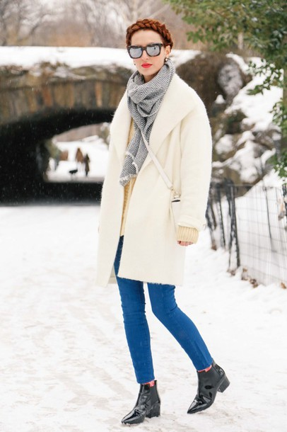 prosecco and plaid blogger jeans off-white winter coat mirrored sunglasses pointed toe scarf coat sweater bag shoes sunglasses jewels make-up