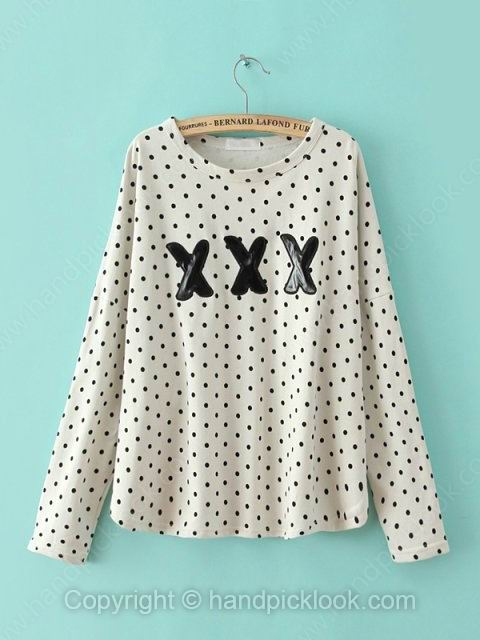 White Round Neck Long Sleeve Polka Dot Sweatshirt - HandpickLook.com