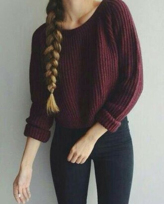 braid knitted sweater burgundy sweater fall sweater skinny jeans black jeans