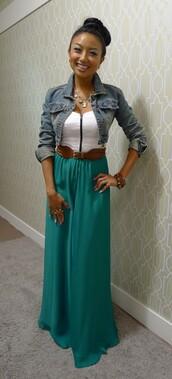shirt,skrt,green,white,zip,jacket,skirt,dress,maxi dress,denim jacket