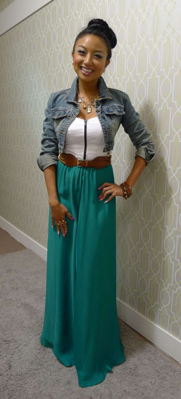 shirt skrt green white zip jacket skirt dress maxi dress denim jacket