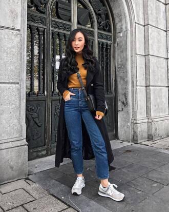 sweater black coat tumblr mustard mustard sweater denim jeans blue jeans sneakers coat
