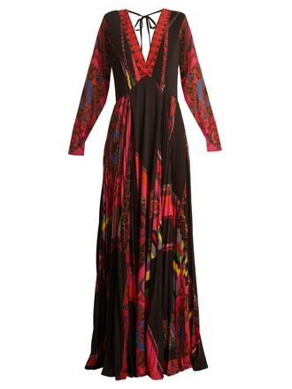 gown print paisley black dress