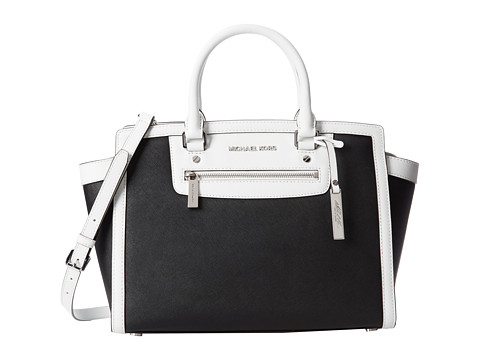 Michael michael kors selma zip large tz satchel black optic white