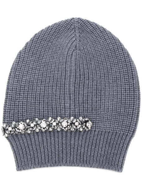 embellished beanie grey hat