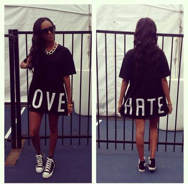t-shirt black white hate dress dope