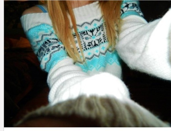 aztec sweater aztec white blue blue sweater cute tumblr outfit tumblr sweater winter sweater winter outfits winter outfits blonde hair