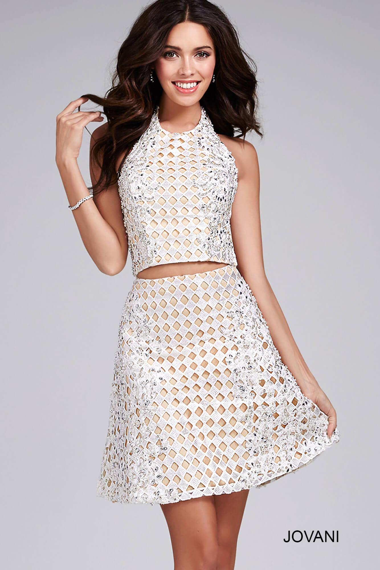 White Two Piece Short Dress 30100