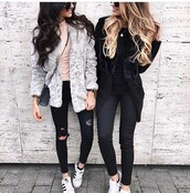 jeans,outfit idea,outfit,summer outfits,winter outfits,cute outfits,fall outfits,date outfit,spring outfits,party outfits,trendy,clothes,fashion,style,stylish,streetwear,streetstyle,coat,winter coat,fur coat,long coat,fall coat,long sleeves,ripped jeans,skinny jeans,black jeans,high waisted jeans,black ripped jeans,pants,black high waisted pants,black pants,skinny pants,high waisted pants,sunglasses,crossbody bag,bag,black bag,shoes,party shoes,cute shoes,summer pants,summer shoes,sneakers,white sneakers,low top sneakers,adidas,adidas shoes,adidas superstars,adidas originals,white shoes,pink top,top,summer top,cute top,black top