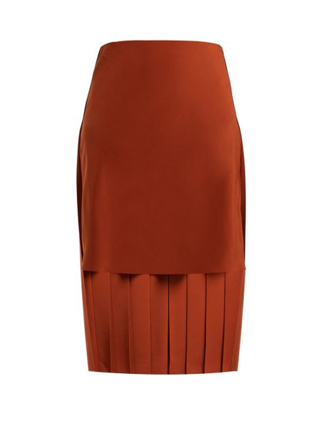 Chloé Chloé - Pleated Silk Midi Skirt - Womens - Brown