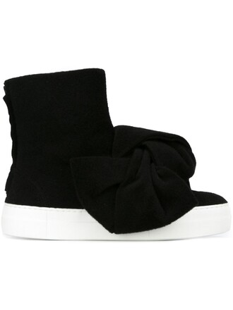 bow oversized boots black shoes