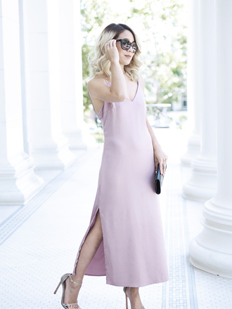laminlouboutins blogger dress bag slip dress midi dress lavender dress clutch sandals shoes high heel sandals