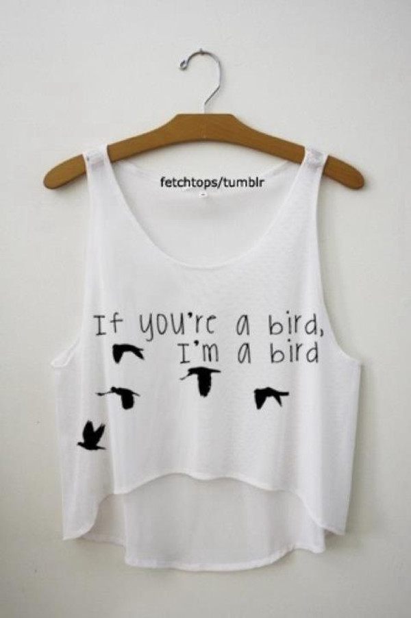 t-shirt birds shirt tank top crop tops summer the notebook swag top birds fly tumblr shirt