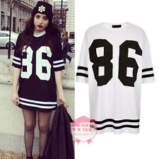 New Womens Baggy Oversized American Baseball 86 Print Varsity Celeb T-Shirt Top | eBay