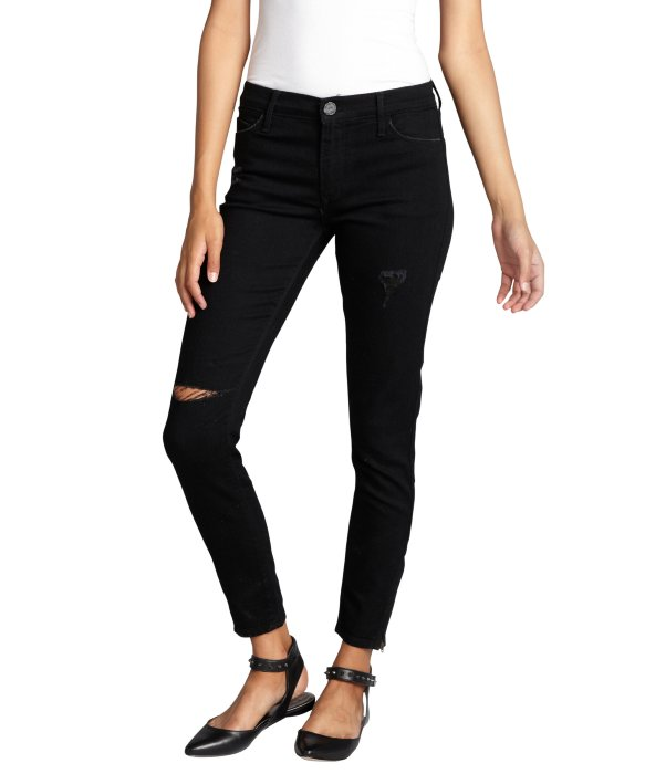 Black Orchid black destructed stretch denim