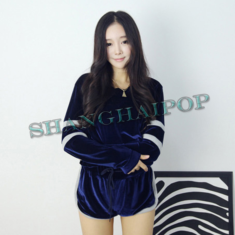Women Velvet Track/Sweat Suit Sports Sweatshirt Shorts Jogging Gym Long Sleeve | eBay