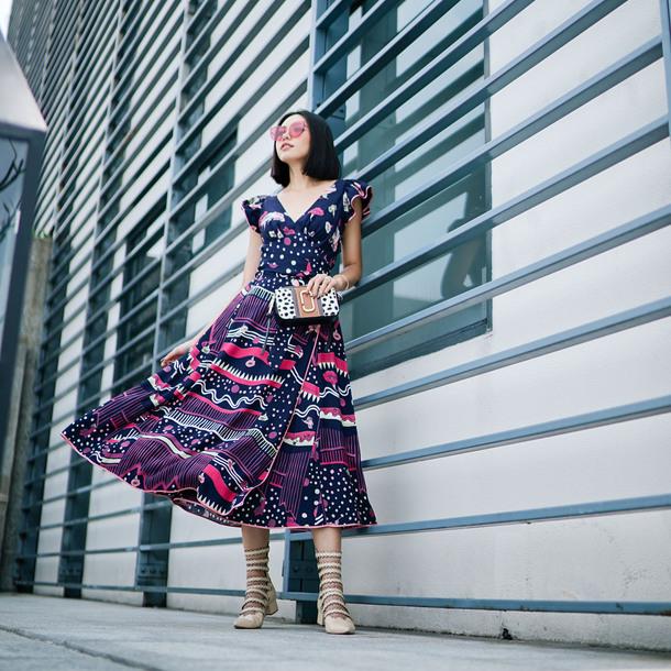 olivia lazuardy blogger sunglasses dress bag shoes clutch midi dress