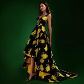 dress,janique,black dress,floral,high and low,yellow,prom dress