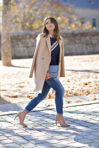 lovely pepa blogger sweater jeans shoes coat bag jewels