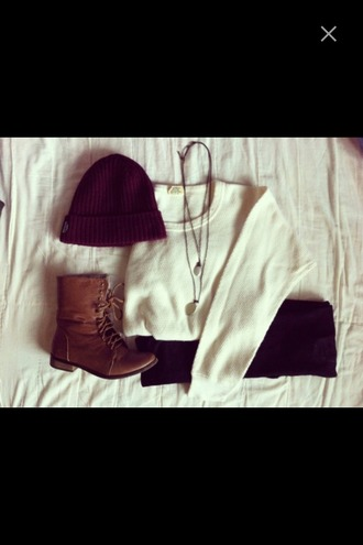 sweater white sweater boots brown leather boots combat boots leggings black leggings jeans denim black jeans necklace outfit fall outfits shoes