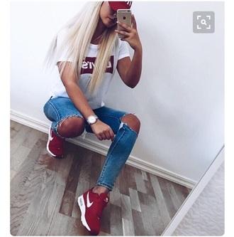 shoes red sneakers nike low top sneakers