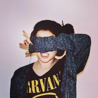 sweater girl nirvana blouse shirt rock vest cardigan punk band tank top t-shirt jacket grey cardigan grey sweater cute cardigan comfy soft grunge grunge black music