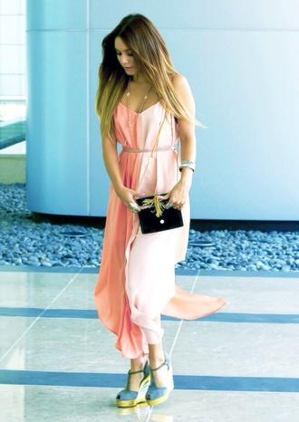dress vanessa hudgens pink dress rose long two colors vanessa hudgens clothes bag blush light pink baby pink miu miu bikini beachwear swimwear