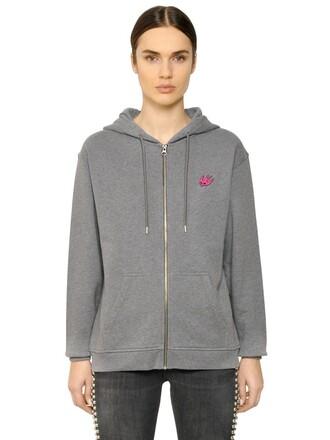 sweatshirt zip cotton grey sweater