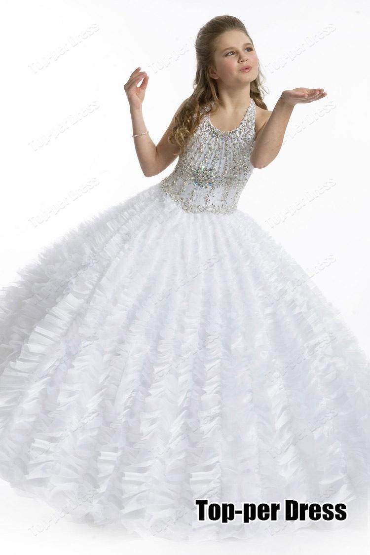 White Flower Girl Dress 2015 New Arrival Little Girls Pageant