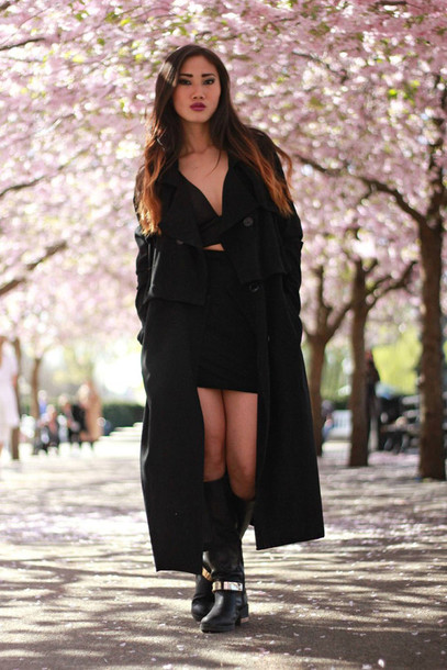 Outfits with black trench coat