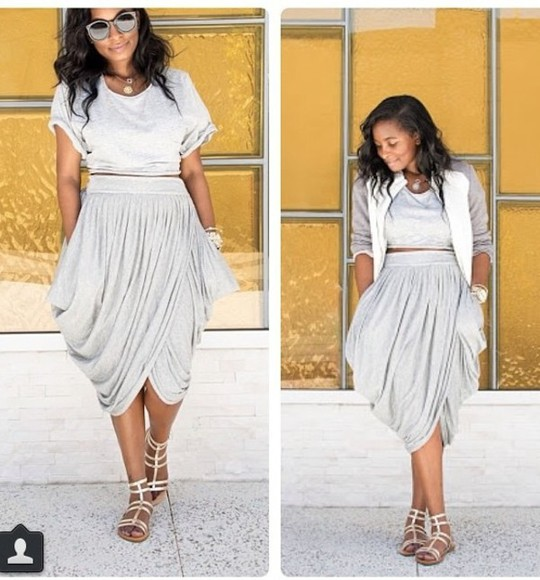 skirt wrap wrap skirt slinky skirt baggy skirt grey midi midi skirt harlem pants