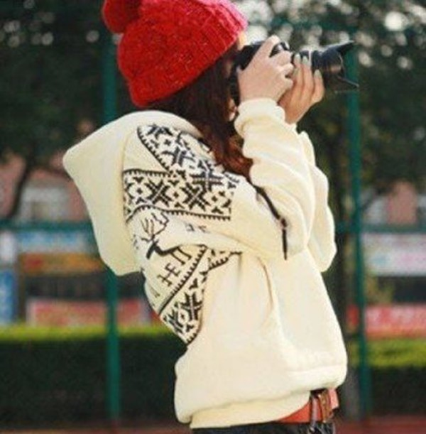 winter outfits jacket cream sweater deer sweater coat clothes pullover christmas top cute black and white winter sweater