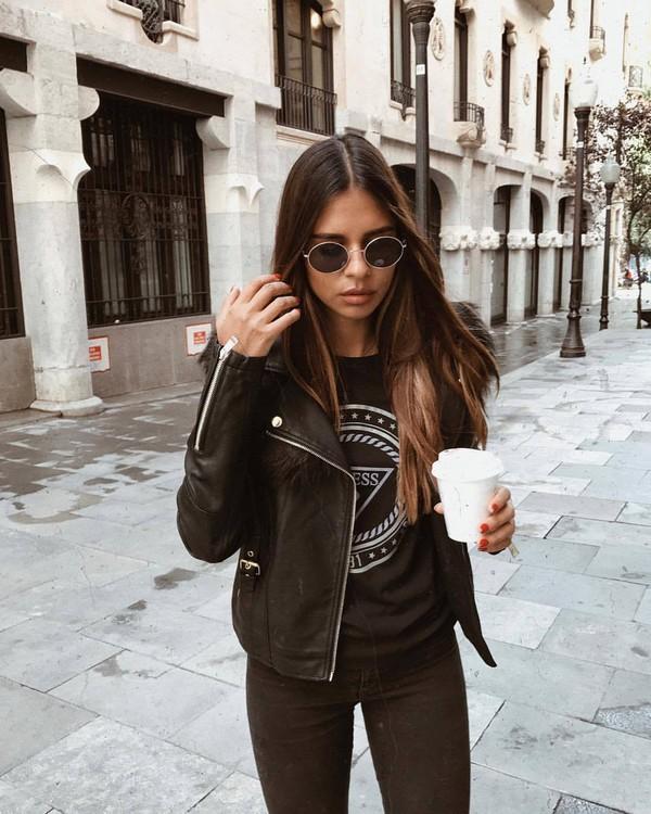 jacket black jacket t-shirt black t-shirt
