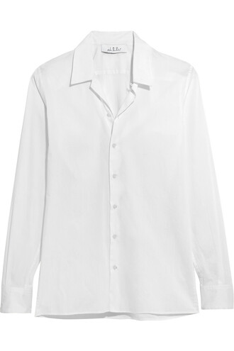 shirt cotton silk white off-white top