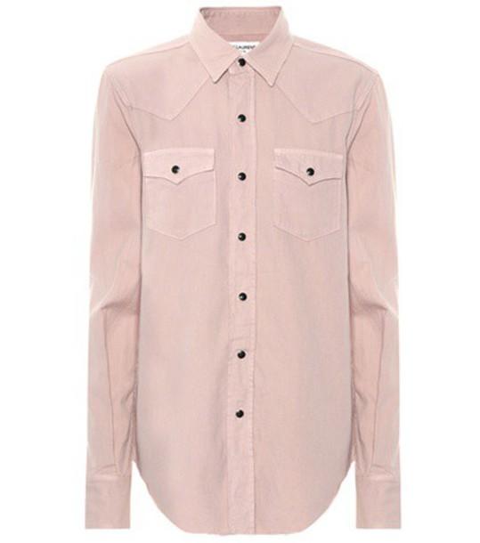 Saint Laurent shirt denim shirt denim pink top